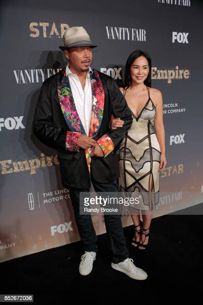 Actor singersongwriter and record producer Terrence Howard poses with his wife Mira Pak on the red carpet during the 'Empire' 'Star' Celebrate FOX's...