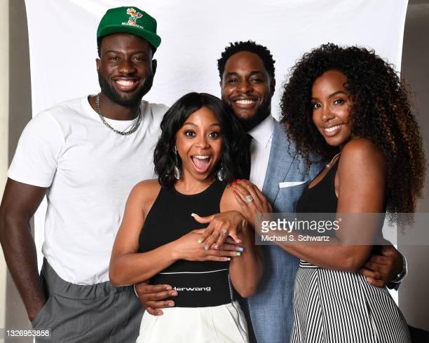 Actor Sinqua Walls, actress Bresha Webb, writer Nick Jones Jr. And singer Kelly Rowland pose during their attendance at the Nick Jones Jr. And Bresha...