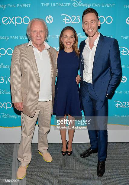 Actor Sir Anthony Hopkins actress Natalie Portman and actor Tom Hiddleston of Thor The Dark World attend Let the Adventures Begin Live Action at The...