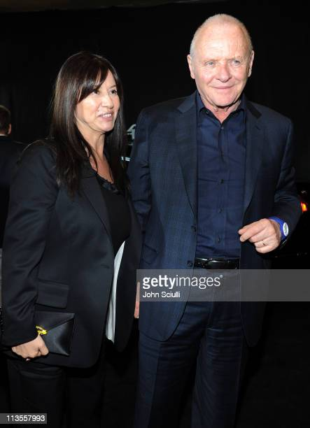 Actor Sir Anthony Hopkins and Stella Arroyave attend the after party for the movie of THOR presented by Acura on May 2 2011 in Hollywood California