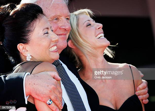 Actor Sir Anthony Hopkins arrives with his wife Stella Arroyave and actress Lisa Pepper at the premiere for the film 'Proof' at the Palazzo del...