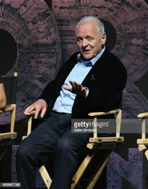 Actor Sir Anthony Hopkins speaks at Paramount Pictures' presentation highlighting its 2017 summer and beyond during CinemaCon at The Colosseum at...
