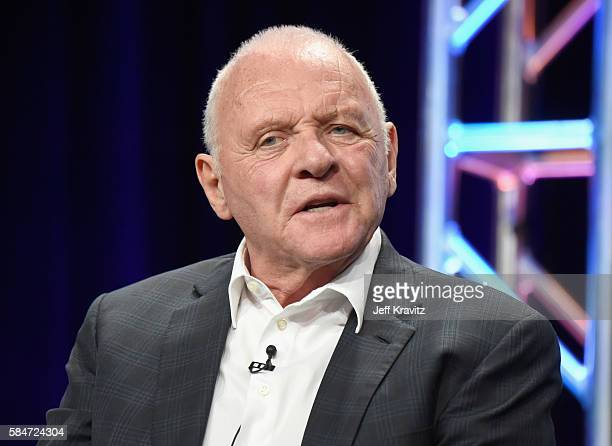 Actor Sir Anthony Hopkins speaks onstage during the 'Westworld' panel discussion at the HBO portion of the 2016 Television Critics Association Summer...