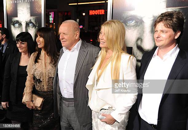 Actor Sir Anthony Hopkins wife Stella Arroyave and family arrive at the Los Angeles Premiere of 'The Rite' held at Grauman's Chinese Theatre on...