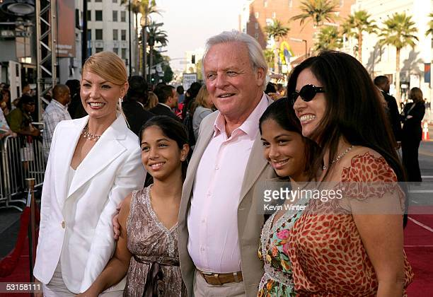 Actor Sir Anthony Hopkins wife Stella Arroyave and guests arrive at the Los Angeles Fan Screening of War of the Worlds at the Grauman's Chinese...