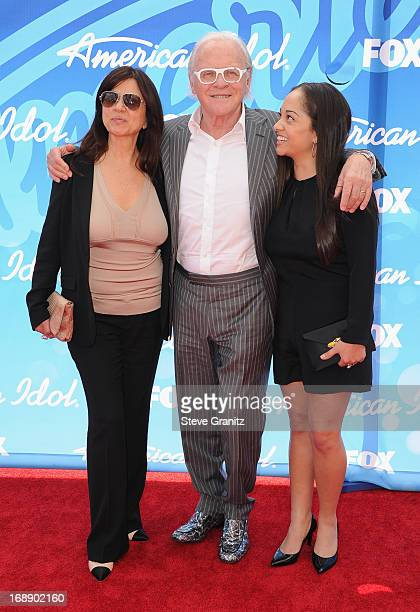 Actor Sir Anthony Hopkins wife Stella Arroyave and niece arrives at FOX's American Idol Grand Finale at Nokia Theatre LA Live on May 16 2013 in Los...