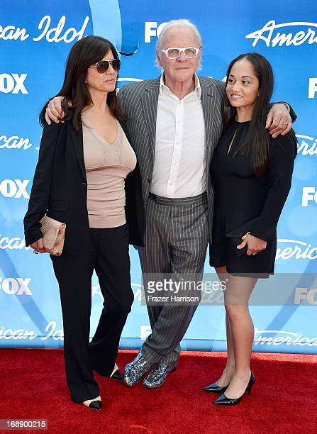 Actor Sir Anthony Hopkins wife Stella Arroyave and niece attend Fox's 'American Idol 2013' Finale Results Show at Nokia Theatre LA Live on May 16...