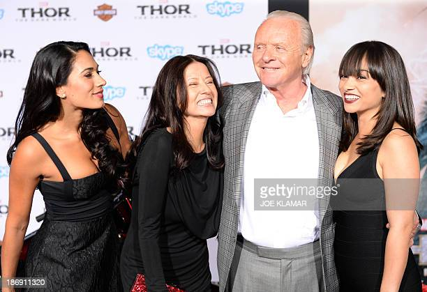 Actor Sir Anthony Hopkins with family arrive at the premiere of Marvel's 'Thor The Dark World' at the El Capitan Theatre on November 04 2013 in...