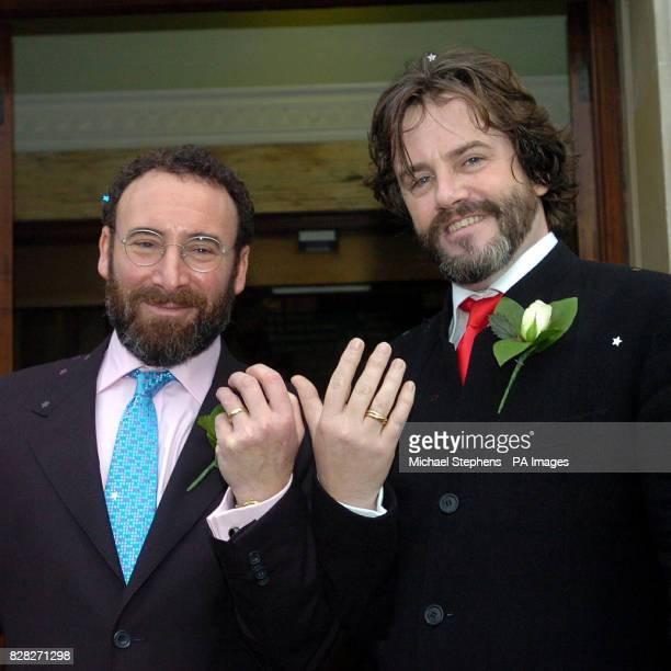Actor Sir Antony Sher with Greg Doran outside Islington Town Hall, North London, after their civil partnership ceremony.