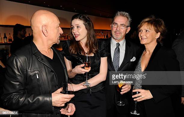 Actor Sir Ben Kingsley actor Emily Mortimer Bruno Laguardia CEO of Giorgio Armani Corporation and his wife attend the cocktail party to celebrate the...