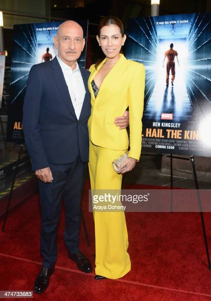 Actor Sir Ben Kingsley and actress Daniela Lavender attend Marvel OneShot All Hail The King Fan Event and Screening in support of Marvel's Thor The...