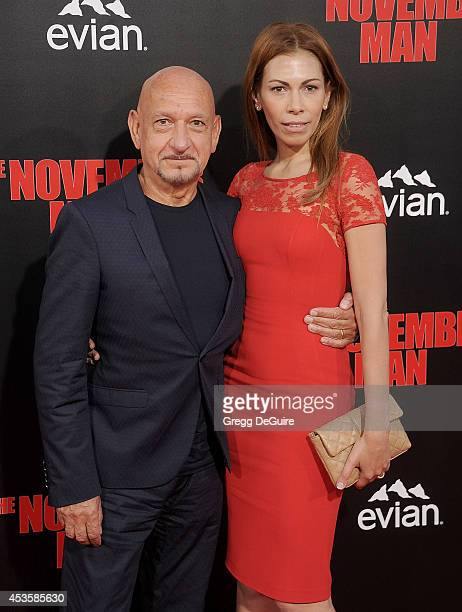 Actor Sir Ben Kingsley and Daniela Lavender arrive at the Los Angeles premiere of 'The November Man' at TCL Chinese Theatre on August 13 2014 in...