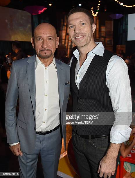 Actor Sir Ben Kingsley and producer Travis Knight attend the premiere of Focus Features' The Boxtrolls PreParty at Universal CityWalk on September 21...