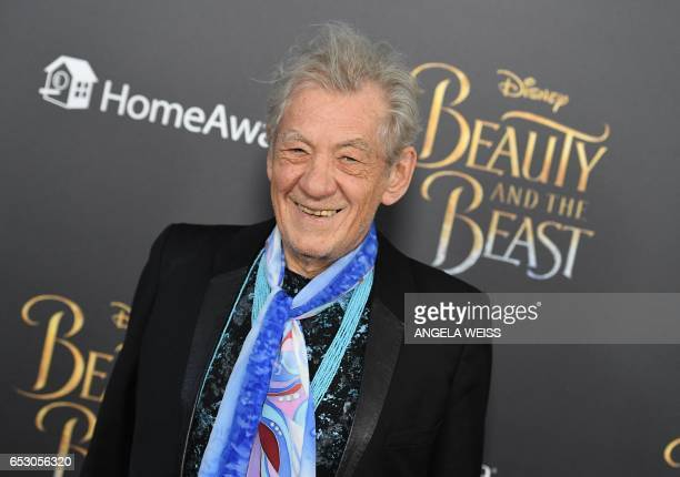 Actor Sir Ian McKellen attends the New York special screening of Disney's liveaction adaptation 'Beauty and the Beast' at Alice Tully Hall on March...
