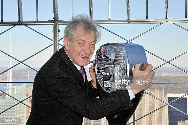 Actor Sir Ian McKellen visits The Empire State Building on November 1 2010 in New York City