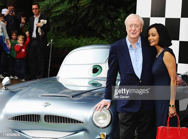 Actor Sir Michael Caine and his wife Shakira attend the pre-party before the UK Film Premiere of Cars 2 in Whitehall Gardens on July 17, 2011 in...