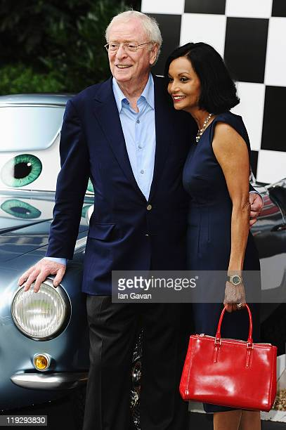 Actor Sir Michael Caine and his wife Shakira attend the preparty before the UK Film Premiere of Cars 2 in Whitehall Gardens on July 17 2011 in London...