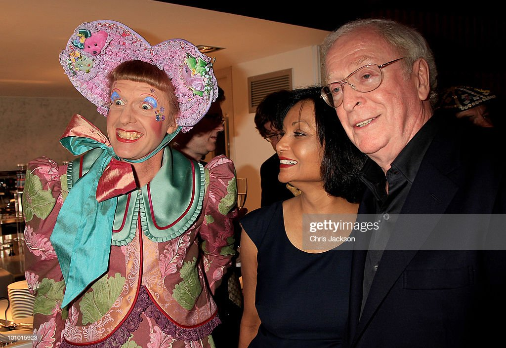 Actor Sir Michael Caine his wife Shakira and Grayson Perry attends The Galleries of Modern London launch party at the Museum of London on May 27, 2010 in London, England.