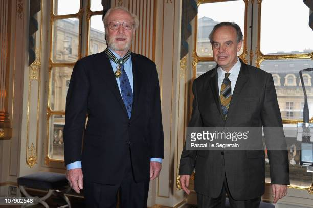 Actor Sir Michael Caine poses after being awarded Commandeur des arts et des lettres by French Culture Minister Frederic Mitterrand at Ministere de...