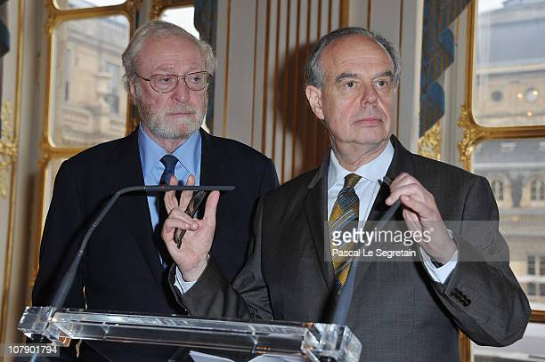 Actor Sir Michael Caine poses before being awarded Commandeur des arts et des lettres by French Culture Minister Frederic Mitterrand at Ministere de...