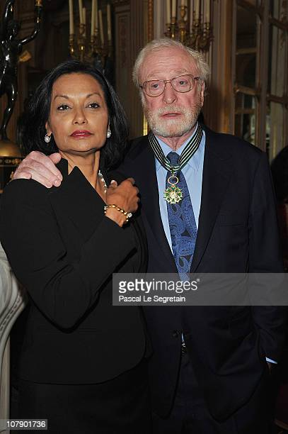 Actor Sir Michael Caine poses with his wife Shakira after being awarded Commandeur des arts et des lettres by French Culture Minister Frederic...