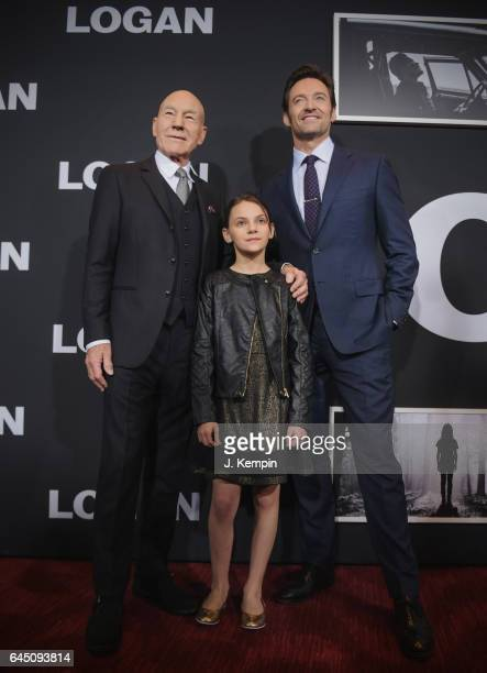 Actor Sir Patrick Stewart actress Dafne Keen and actor Hugh Jackman attend the Logan New York Special Screening at Rose Theater Jazz at Lincoln...