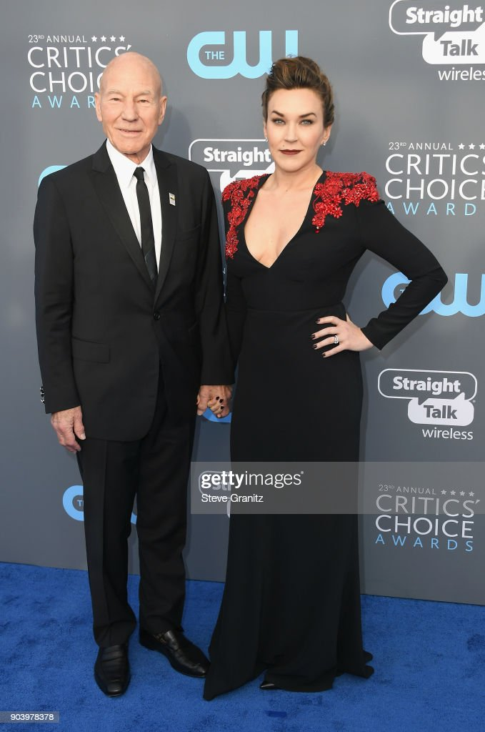Actor Sir Patrick Stewart (L) and singer Sunny Ozell attend The 23rd Annual Critics' Choice Awards at Barker Hangar on January 11, 2018 in Santa Monica, California.