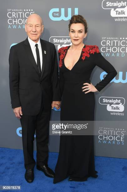 Actor Sir Patrick Stewart and singer Sunny Ozell attend The 23rd Annual Critics' Choice Awards at Barker Hangar on January 11, 2018 in Santa Monica,...