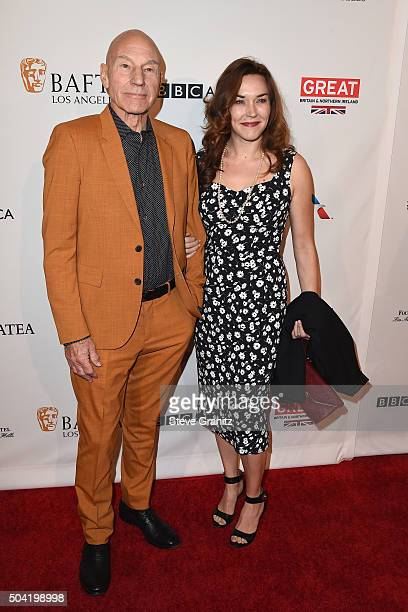 Actor Sir Patrick Stewart and singer Sunny Ozell attend the BAFTA Los Angeles Awards Season Tea at Four Seasons Hotel Los Angeles at Beverly Hills on...