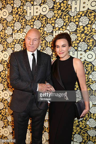 Actor Sir Patrick Stewart and Sunny Ozell attend HBO's Official Golden Globe Awards After Party at The Beverly Hilton Hotel on January 10, 2016 in...