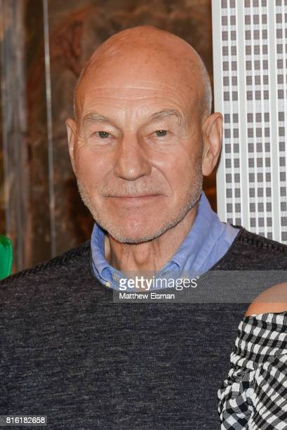 Actor Sir Patrick Stewart of the film The Emoji Movie poses for a photo to celebrate World Emoji Day at The Empire State Building on July 17 2017 in...