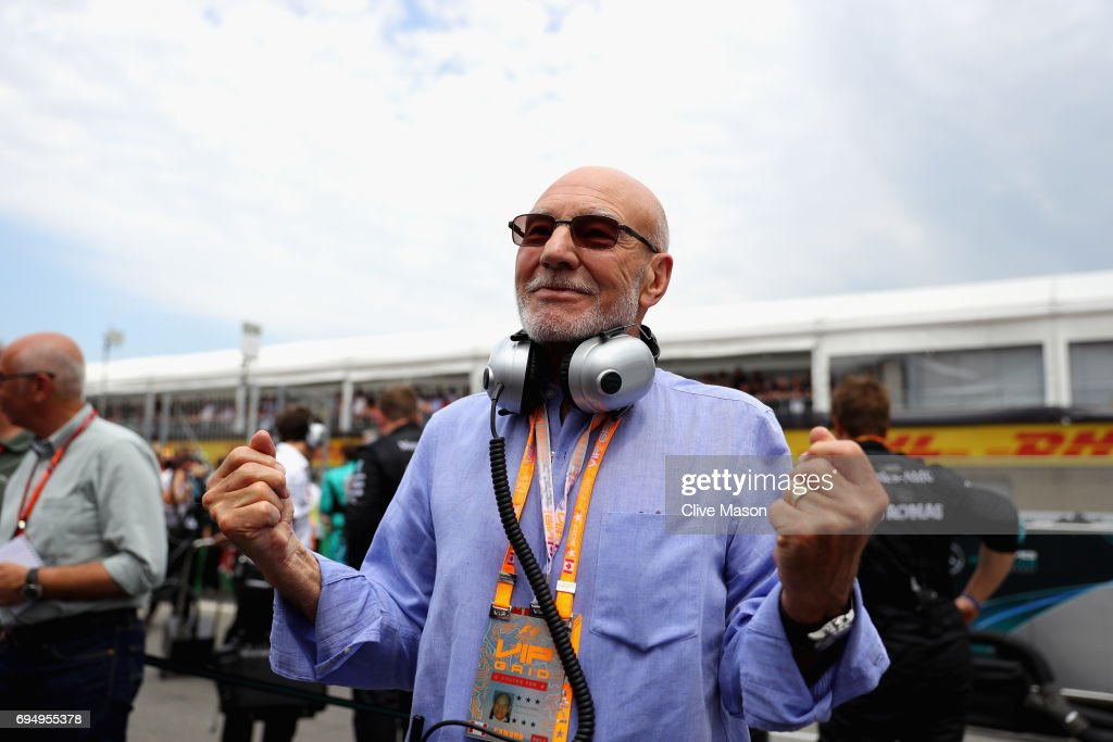 Actor Sir Patrick Stewart on the grid during the Canadian Formula One Grand Prix at Circuit Gilles Villeneuve on June 11, 2017 in Montreal, Canada.
