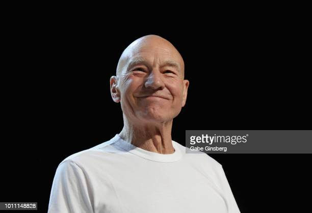 Actor Sir Patrick Stewart speaks during the 17th annual official Star Trek convention at the Rio Hotel & Casino on August 4, 2018 in Las Vegas,...