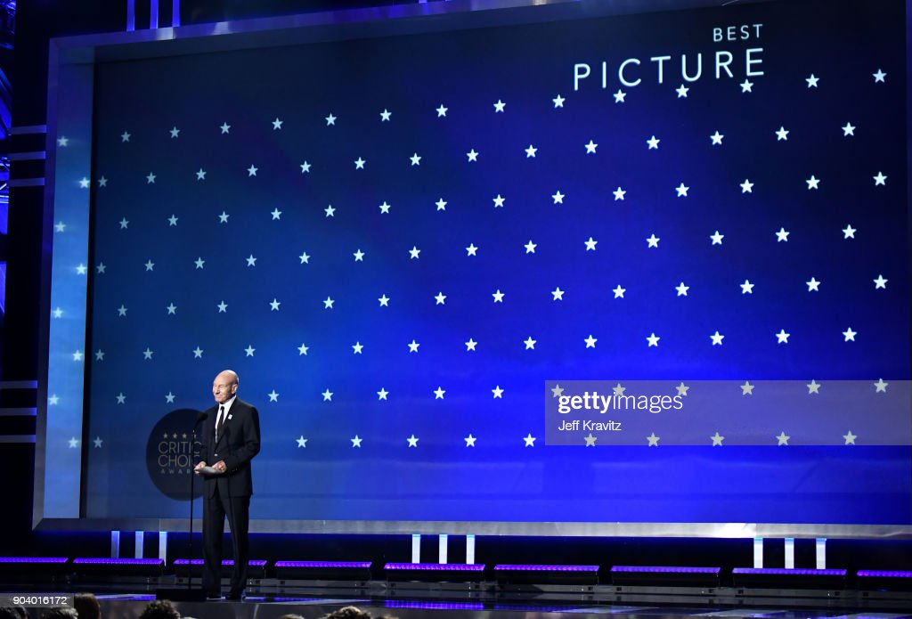 Actor Sir Patrick Stewart speaks on stage at The 23rd Annual Critics' Choice Awards at Barker Hangar on January 11, 2018 in Santa Monica, California.