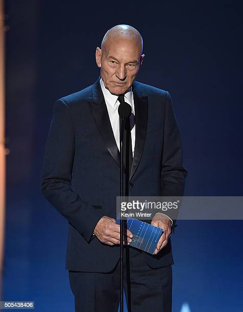 Actor Sir Patrick Stewart speaks onstage during the 21st Annual Critics' Choice Awards at Barker Hangar on January 17 2016 in Santa Monica California