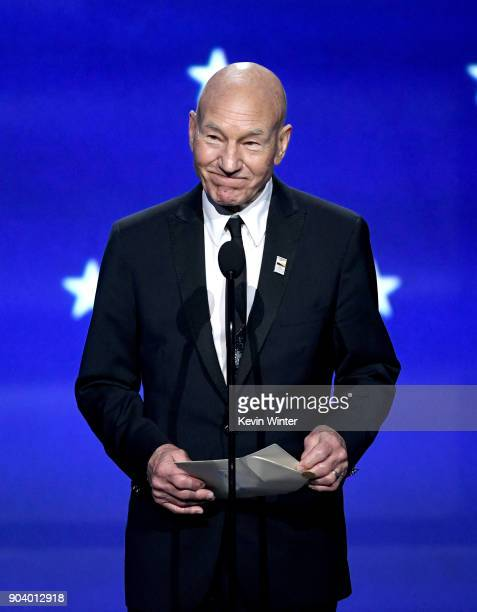 Actor Sir Patrick Stewart speaks onstage during The 23rd Annual Critics' Choice Awards at Barker Hangar on January 11 2018 in Santa Monica California