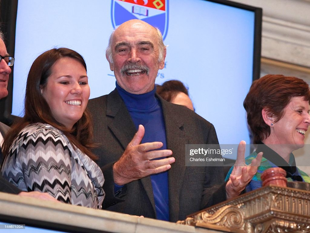 Actor Sir Sean Connery and University of St Andrews Principal and Vice Chancellor Louise Richardson ring opening bell at the New York Stock Exchange on May 17, 2012 in New York City.