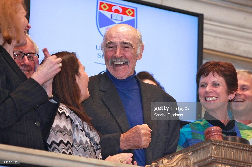 Actor Sir Sean Connery and University of St Andrews Principal and Vice Chancellor Louise Richardson ring the opening bell at the New York Stock Exchange on May 17, 2012 in New York City.