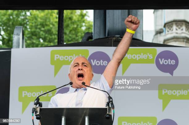 Actor Sir Tony Robinson speaks at People's Vote rally in Parliament Square in central London on a second anniversary of the Brexit referendum...