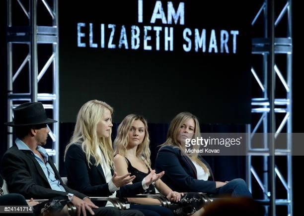 Actor Skeet Ulrich narrator/producer Elizabeth Smart actor Alana Boden and executive producer Allison Berkley of 'I Am Elizabeth Smart' speak onstage...