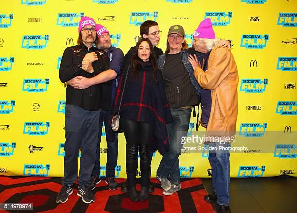 Actor Sky Elobar producer Ant Timpson location manager Julie Karelitz writer/director Jim Hosking Marten Tedin and actor Michael St Michaels attend...