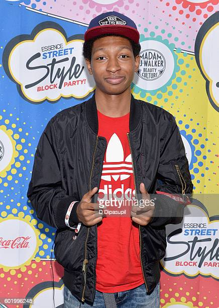 Actor Skylan Brooks attends the 2016 Essence Street Style Block Party at DUMBO on September 10 2016 in Brooklyn Borough of New York City