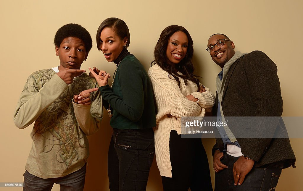 Actor Skylan Brooks, producer and musician Alicia Keys, actress Jennifer Hudson and director George Tillman Jr. pose for a portrait during the 2013 Sundance Film Festival at the Getty Images Portrait Studio at Village at the Lift on January 18, 2013 in Park City, Utah.