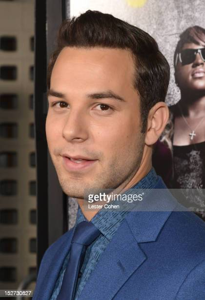 Actor Skylar Astin arrives at the Los Angeles premiere of Pitch Perfect at ArcLight Hollywood on September 24 2012 in Hollywood California