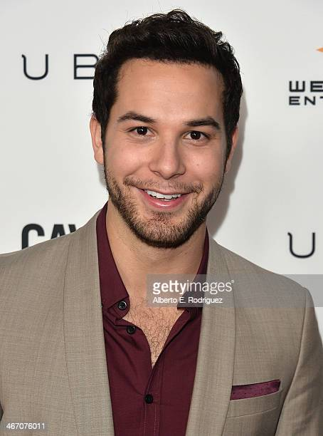 Actor Skylar Astin arrives to the premiere of Cavemen at the ArcLight Cinemas on February 5 2014 in Hollywood California