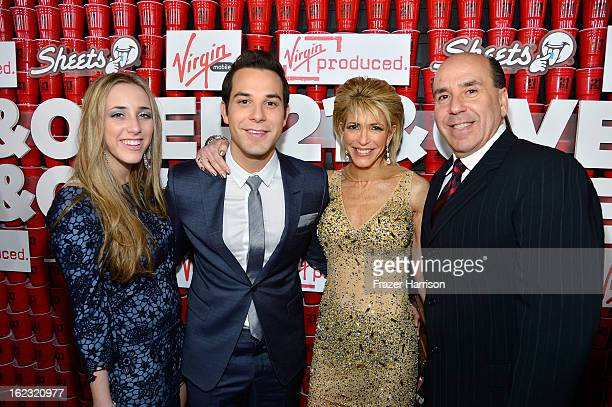 Actor Skylar Astin family Brielle Lipstein Meryl Astin and Barry Astin attend Relativity Media's 21 and Over premiere at Westwood Village Theatre on...