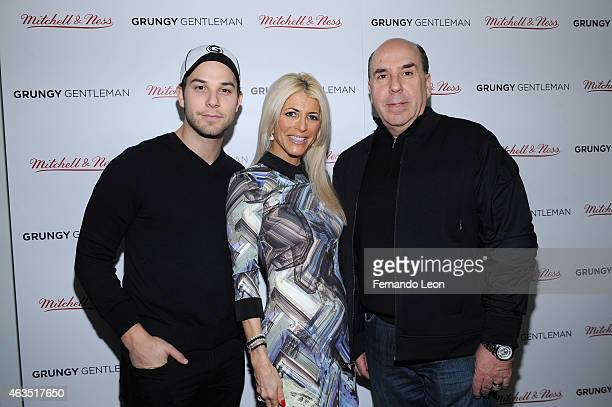 Actor Skylar Astin Meryl Lipstein and Barry Lipstein pose at the Grungy Gentleman presentation during MercedesBenz Fashion Week Fall 2015 at Pier 59...