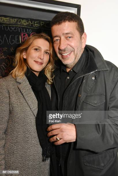 Actor Slimane Dazi and his agent Gwenaelle Baidt attend 'Bagel N Fries' Restaurant Opening Party on November 28 2017 in Paris France