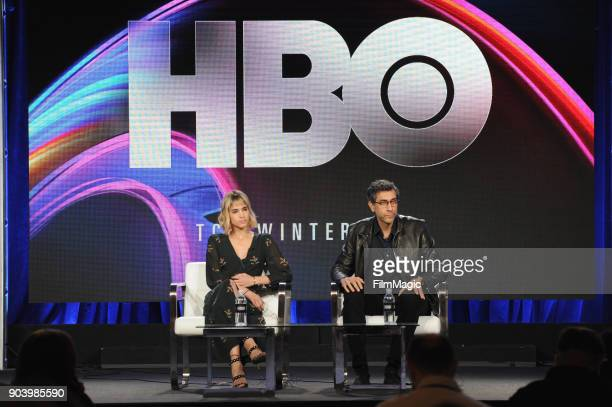 Actor Sofia Boutella and executive producer Ramin Bahrani speak on stage at HBO Winter TCA 2018 on January 11 2018 in Pasadena California