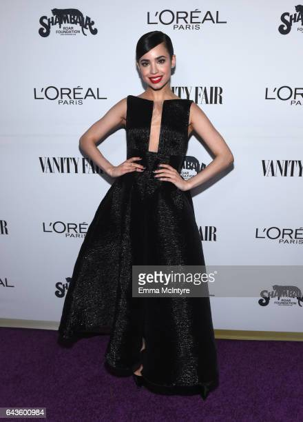 Actor Sofia Carson attends Vanity Fair and L'Oreal Paris Toast to Young Hollywood hosted by Dakota Johnson and Krista Smith at Delilah on February 21...